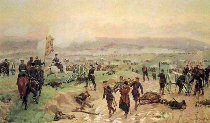 «Бой под Плевной 27 августа 1877 года» Н. Д. Дмитриев-Оренбургский, (1883)