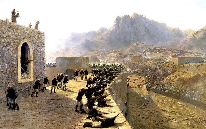 «Отбитие штурма крепости Баязет 8 июня 1877 года.». Худ. Л. Ф. Лагорио (1891)