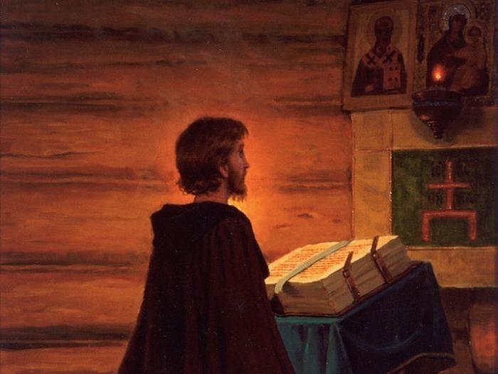 Преподобный Сергий Радонежский на молитве