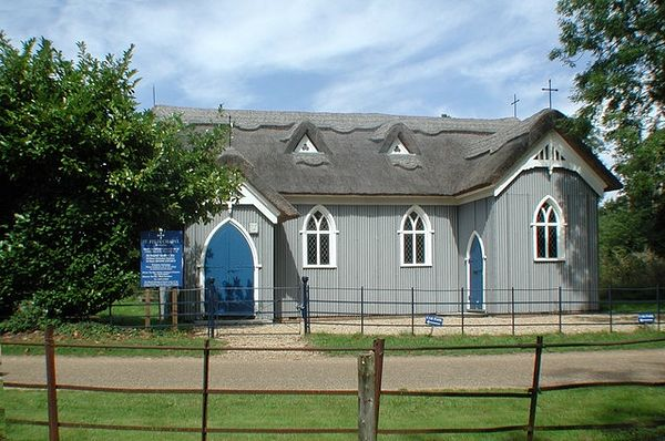 The modern Church of Sts. Mary and Felix in Babingley, Norfolk
