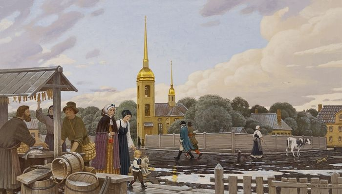 А. Простев. Петербургская сторона. Вид на церковь Апостола Матфия. XVII в.