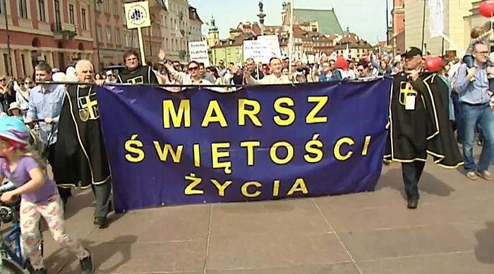 Христиане Варшавы на марше за ужесточение правил проведения абортов