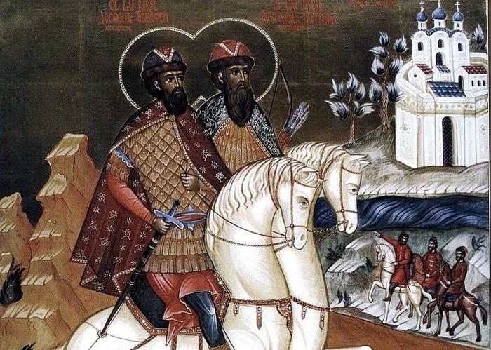 Явление благоверных князей Довмонта-Тимофея и Всеволода-Гавриила Псковских во время Албазинской осады.