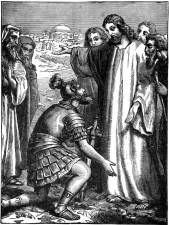 "Healing of the centurion's servant, an ink drawing from""Project Gutenberg's Mother Stories from the New Testament"" - http://www.gutenberg.org/files/17163/17163-h/17163-h.htm http://www.orthodox.net/ikons/miracle-healing-of-the-centurions-servant-02.jpg"
