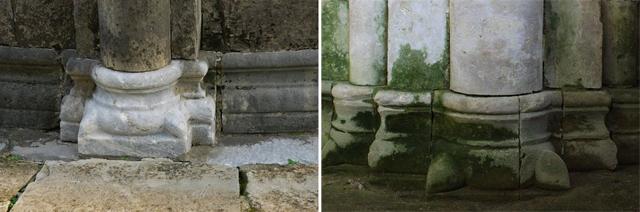 Слева: База с «когтями» (или «листьями»), Кафедральный собор в Граведоне (Ломбардия, Италия); справа: База с «когтями» (или «листьями») западного фасада церкви Рождества Богородицы (Боголюбово)