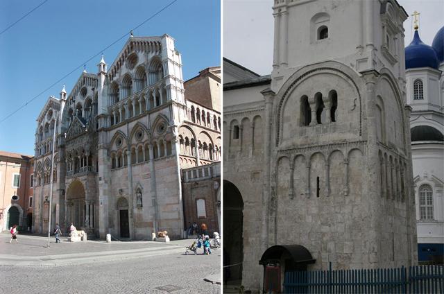 Слева: Кафедральный собор в Ферраре (Эмилия-Романья, Италия); справа: Лестничная башня церкви Рождества Богородицы в Боголюбове