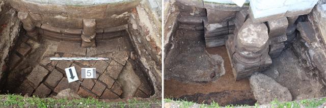 Слева: Раскоп центральной части алтаря снаружи и фрагменты мощения площади перед церковью Рождества Богородицы, Боголюбово