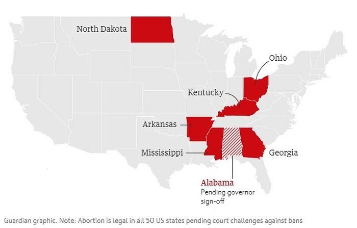 Семь штатов ввели запрет на все или большинство абортов. Графика: The Guardian