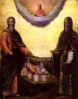 Апостол Андрей Первозванный и преподобный Антоний Печерский. Икона конца XIX в.