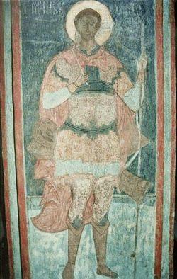 Загрузить увеличенное изображение. 362x570px.  Размер файла 49,82kb  Святой Христофор. Фреска на юго-западном столпе Спасо-Преображенского собора в Ярославле. 1563–1564 гг.