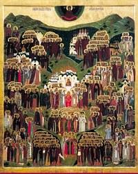 Загрузить увеличенное изображение. 356x450px.  Размер файла 41,81kb  Икона Собора всех святых в земле Российской просиявших