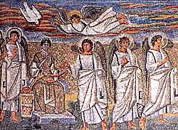 Благовещение. Мозаика триумфальной арки ц. Мария Маджоре. Рим. 432-440 годы
