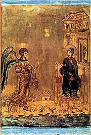 Благовещение. Икона. XII в. Монастырь св. Екатерины, Синай
