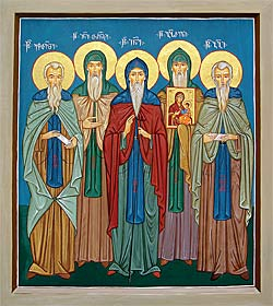 The Holy Georgian Fathers of Iveron: St. Ekvtime, St. Ioane-Tornike, St. Ioane, St. Gabriel, and St. Giorgi.