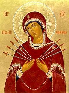 Икона Божией Матери «Умягчение злых сердец» (Семистрельная). Празднование 13/26 августа.