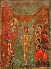 Крещение. Икона. Псков, середина XIV века. Государственный Эрмитаж.