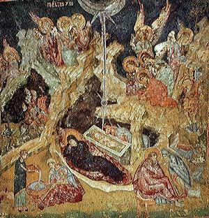 Рождество Христово. Фреска в церкви св. Апостолов в Пече, Сербия. Третья четверть 14 века.