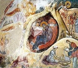 Рождество Христово.Фреска в ц. Иоакима и Анны в Студенице,Сербия.