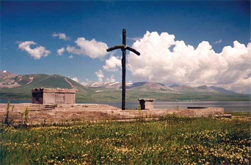 Altar and cross erected at Lake Paravani, where St. Nino began to preach the Gospel in Georgia.