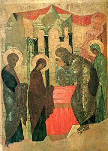 Сретение. Икона. Начало 15 в. Государственный Русский музей, Санкт-Петербург.