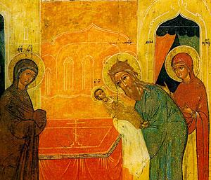 Сретение. Икона. Сретение. Икона. 16 в., Новгород. Музей икон в Амстердаме.