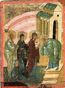 Сретение. Икона – «таблетка». 15 в. Сергиево-Посадский музей-заповедник.