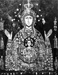 Подлинная фотография чудотворной Царскосельской иконы Божией Матери «Знамение». Фото 1910-х гг. с сайта Санкт-Петербургской митрополии