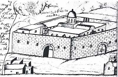Монастырь св. Маманта в Морфу. Рисунок Василия Григоровича-Барского. XVIII век.