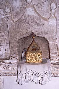 Мощи св.Иоанна Лампадиста из соборного храма монастыря.