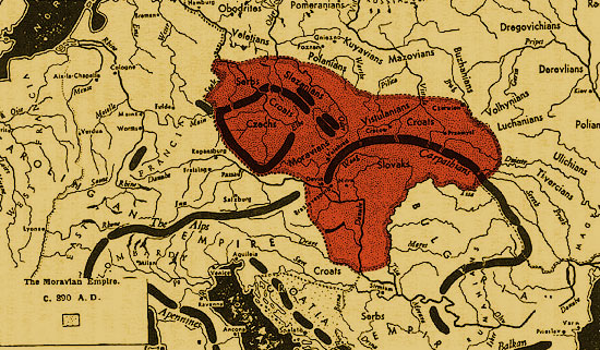 Великая Моравия. Территория империи к 890 г.