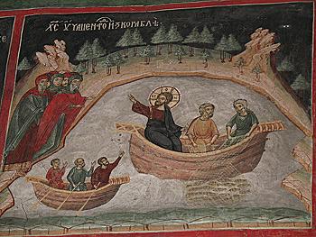 Христос учит народ. Фреска. Монастырь Сучевица (Румыния). Фото Игоря Зыбина / Православие.Ру